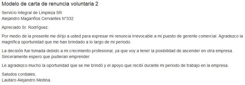 modelo de carta de renuncia laboral 2