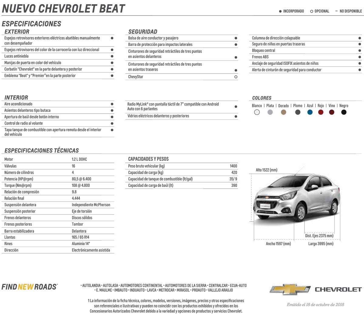 Chevrolet Beat 2019 En Ecuador Precio Caracteristicas Ficha