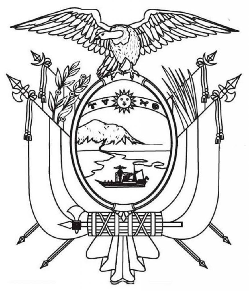 Escudo del Ecuador para Pintar - Dibujo del Escudo Nacional para ...