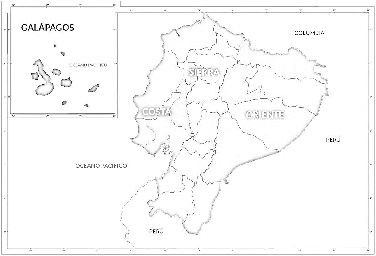 Mapa del Ecuador con sus Regiones Naturales: Sierra, Costa, Amazonía ...