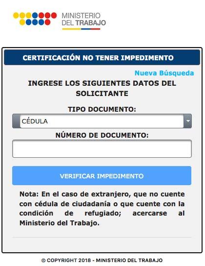 Certificado de NO tener Impedimento para Ejercer Cargo Público