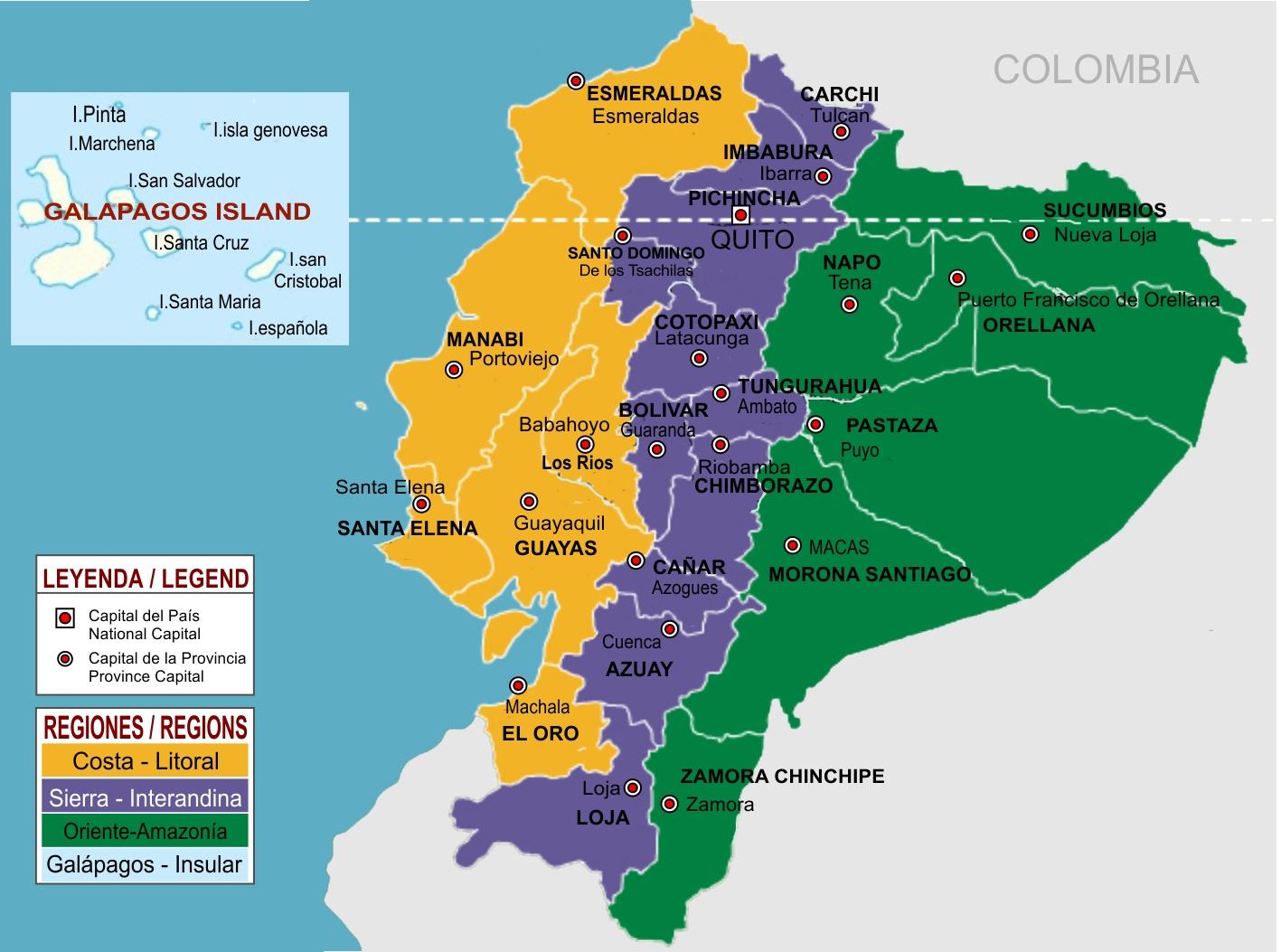 Mapa político del Ecuador con ...